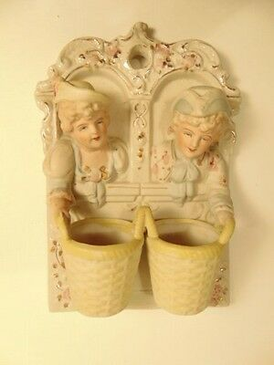Occupied Japan bisque /porcelain baroque style wall plaque w/wall pocket baskets