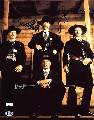 Tombstone Kurt Russell, Val Kilmer & Sam Elliott Signed 11X14 Photo BAS #A80842