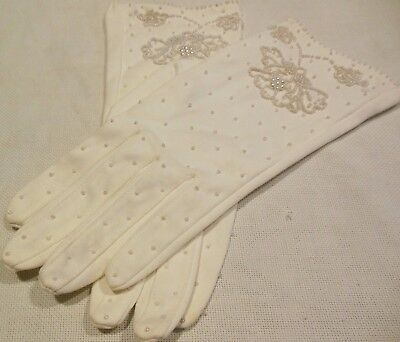 Vintage Soft White Cotton Beaded Womans Gloves 7 1/2 Wedding Formal