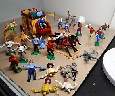 Timpo Toys: Stagecoach Rare Part Set Cowboys Indians Confederate Collection