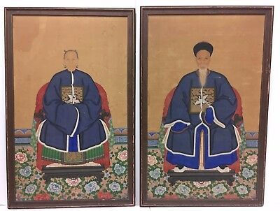 Two Framed Chinese Ancestor Paintings Husband And Wife Portrait Qing Dynasty