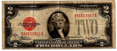 1928 D 2 Two Dollar Red Seal United States Note 963 A