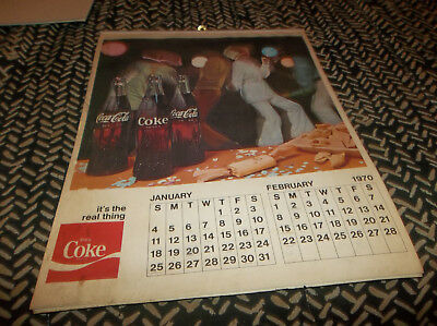 Vtg 1970 Coca Cola Advertising Calendar w GR8 Santa Claus Back Cover