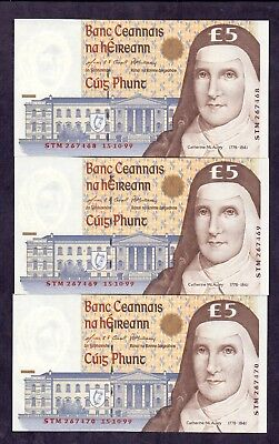 5 Pounds From Ireland 15.10.1999 Unc 3 Pcs With Concecutive Numbers