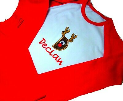 Personalised Embroidered Childrens CHRISTMAS EVE PYJAMAS RUDOLF INITIAL APPLIQUE