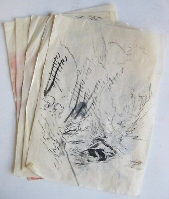 Fine Old Lot of 5 Japanese Artist's Sketches Ink Brush Scroll Paintings   d