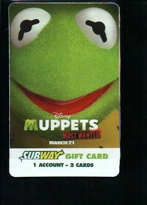 Kermit The Frog on Subway Gift Card, PLEASE READ !!! Muppet :) --- NOT Postcard