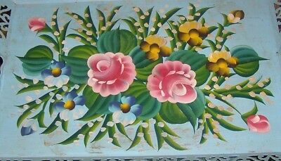 """Vintage,hand Painted,roses,tole,metal,tray,15 3/4 X 22 3/4"""",cottage Blue,shabby"""