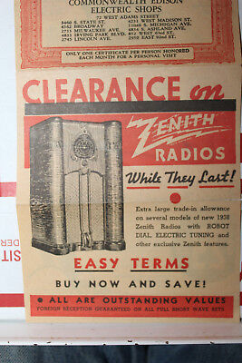 Vintage 1938 Zenith Radio Advetising Coupon Edison Electric Shop Federal Sunbeam