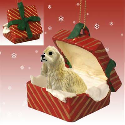 Cocker Spaniel Blond Dog RED Gift Box Holiday Christmas ORNAMENT