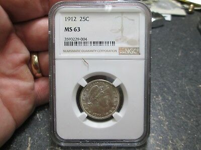 1912 BARBER QUARTER IN NGC MS 63 uncirculated Coin