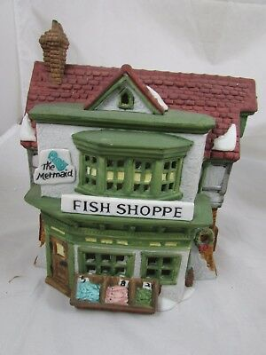 Vintage 1988  Dept 56  Dickens Village The Mermaid Fish Shoppe Building
