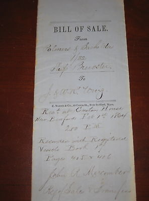 Original 1/32 Bill of Sale Whaling Ship Bark Brewster New Bedford 1864 Wing