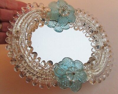 Charming Small Murano Glass Frame Mirror Blue Flowers Venetian