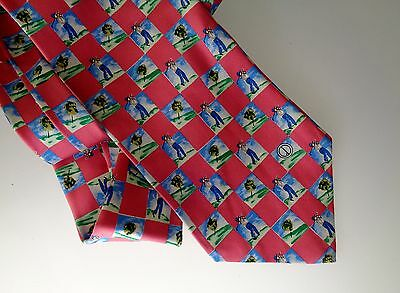 Gorgeous Dunhill Pre-Owned Silk Neck Tie Golfers Pink Square Checkers