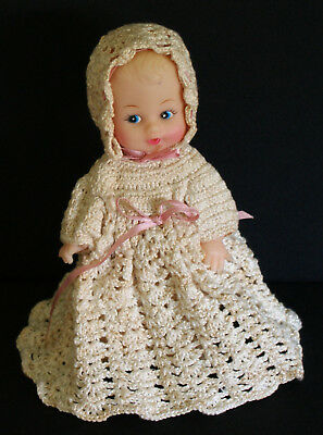 ADORABLE LITTLE DOLL 1950's - 60's SOFT PLASTIC DRESSED in CROCHET CLOTHING