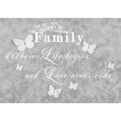FAMILY QUOTE Grey Print Hanging Picture Art Canvas Wall Art  Painting Mural Art
