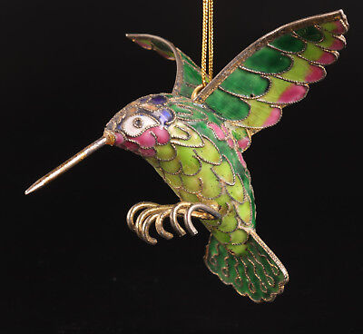 Cloisonne Old Handmade Hummingbird Statue Pendant Home Decoration Gift Collectab