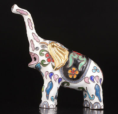 Figurines Sacred White Cloisonne Statue India Elephants Vintage Collectable