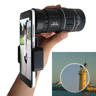 16x52 Zoom Dual Focus Monocular Telescope 66M/8000M & Phone Holder & Pouch Tool