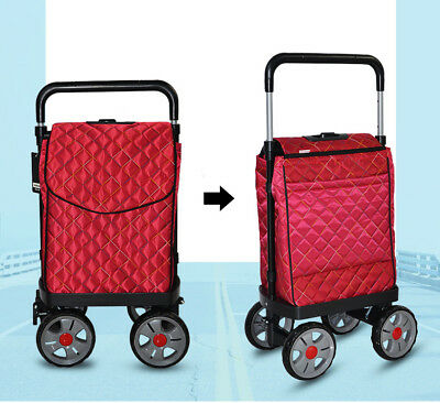 E124 Rugged Aluminium Luggage Trolley Hand Truck Folding Foldable Shopping Cart