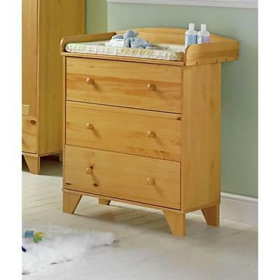 New Babystart Oxford 3 Drawer Chest Baby Changer Unit in Pine