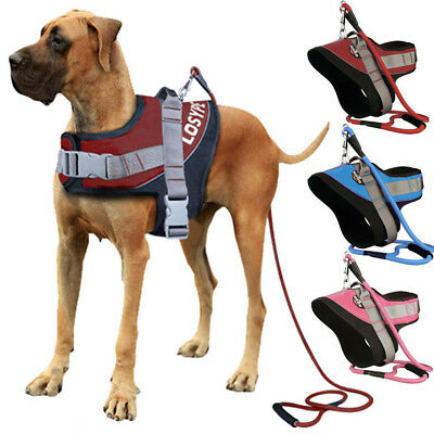 LOSY PET Power Dog Puppy Harness Strong Adjustable Reflective w/ Dog Leash Lead