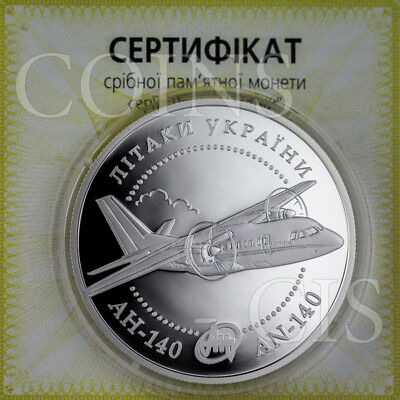 Ukraine 2004 10 UAH AN-140 Aircraft Airplanes of Ukraine 1oz Proof Silver Coin