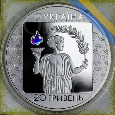Ukraine 2004 20 UAH 28th Summer Olympic Games Athens 2oz Proof Silver Coin