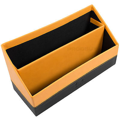 Rhodia Orange Black Faux Italian Leather Letter Rack Holder Tray Organiser File