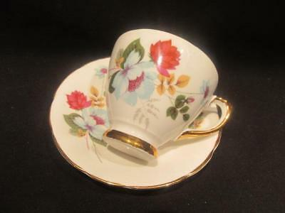 Delphine Yellow Blue & Purple Flowers Vintage Bone China Cup & Saucer