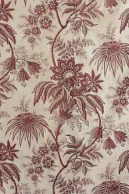 Antique French floral 19th century printed fabric toile early 1800's material