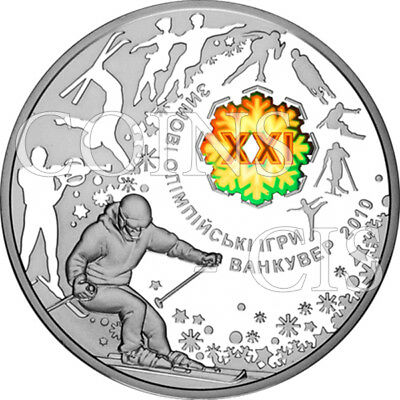 Ukraine 2010 10 UAH XXI Winter Olympic Games Vancouver Proof Silver Coin