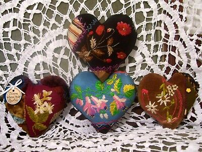 HEARTS from 1880-90s CRAZY QUILT~FINE EMBROIDERY~POPPIES~DAISIES~LIPSTICK PLANT~