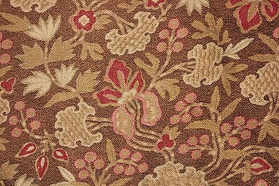 Antique French cretonne 1880 brown Arts and Crafts fabric material upholstery ~