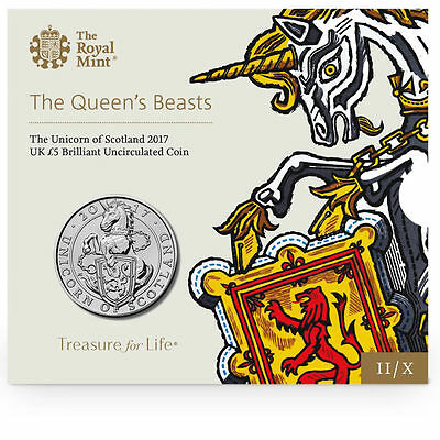 "2017 United Kingdom (UK) £5 BU Coin ""Queen's Beasts: The Unicorn of Scotland"""
