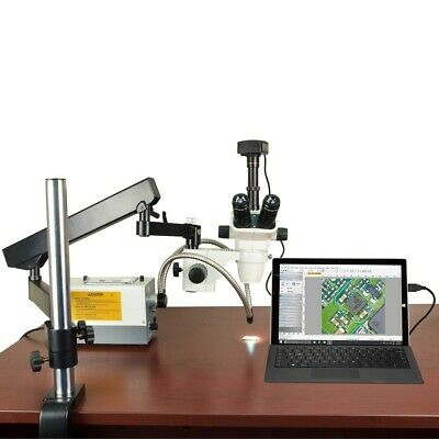 OMAX 2X-270X USB3 5MP Simul-focal Zoom Microscope+Articulating Arm+150W Light