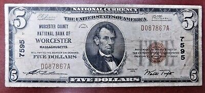 1929 $5 Worcester County National Bank Fr. 1800-1