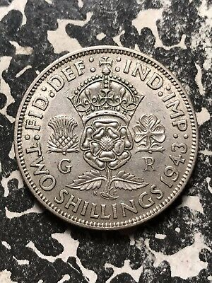 1943 Great Britain 1 Florin Lot#X1053 Silver!