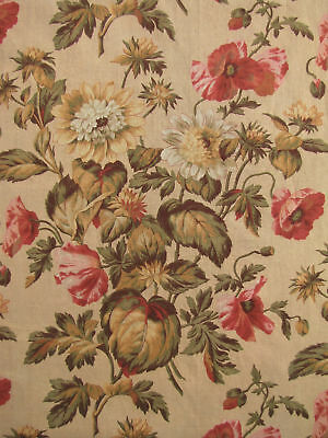 Antique French botanical material ~ long panel fabric vintage material curtain