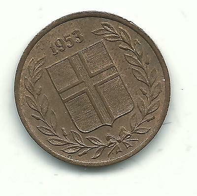 A High Grade Au Red/brown 1953 Iceland 1 Eyrir Coin-Dec947