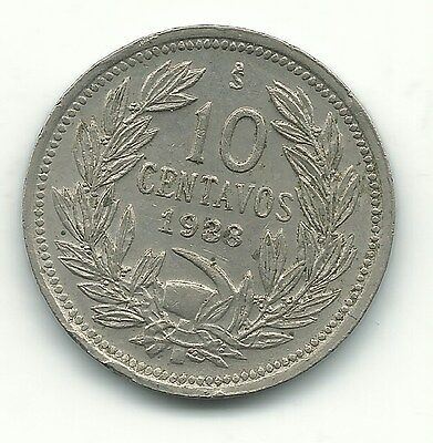 A High Grade 1938 Chile 10 Centavos Coin-Defiant Condor On Rock-May158