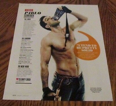 PABLO SCHREIBER Shirtless Male Celebrity PINUP Clipping 8X10 Treasure Trail Arms