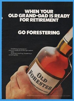1974 Old Forester Whiskey Brown Forman Distillers Louisville Bottle Grand Dad Ad
