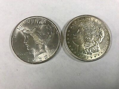 morgan and peace silver dollars 1921 And 1923 Nice Coins