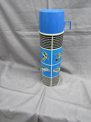 Vintage King-Seeley Thermos Blue Black Fish & Game Vacuum Bottle