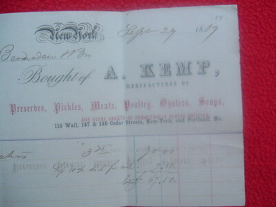 1859 EARLY A.Kemp,(Sending Oysters Voyage to the Pacific),ADVERTISING letterhead