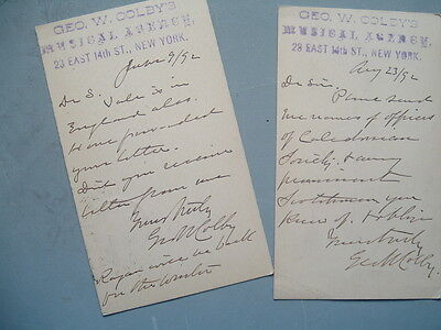 1892 (2) George W.Colby signed handwritten cards,Musical PIANO GUY in N.Y.,LOT