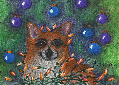 Pembroke Welsh corgi dog orig ACEO by Susan Alison helping with the Xmas lights