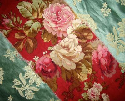 1.2m BEAUTIFUL TIMEWORN 19th CENTURY FRENCH TOILE DE JOUY c1870s ROSES FARMHOUSE